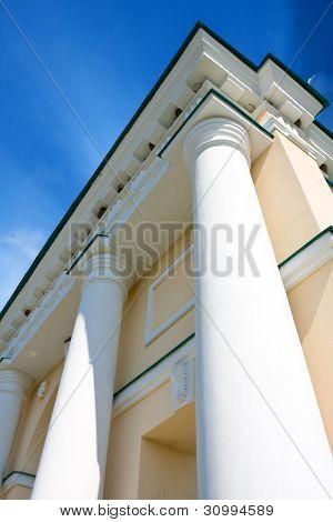 columns on blue sky background