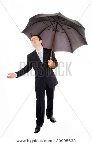 Full lenght of young business man with umbrella and checking the rain on white
