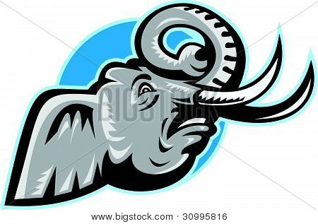 Angry African Elephant Head Retro