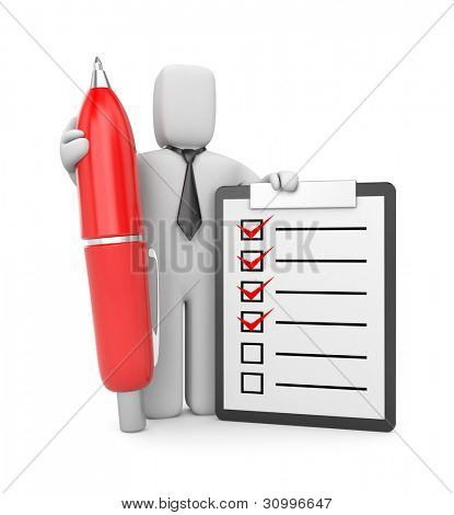3d businessman with clipboard and pen. Image contain clipping path