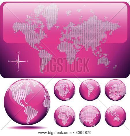 Vector mapa y globo del mundo - rosa brillante