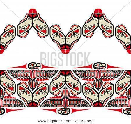 Haida Stil nahtlose Muster mit Tier Bilder erstellt. Vektor-Illustration fit für Tätowierung.