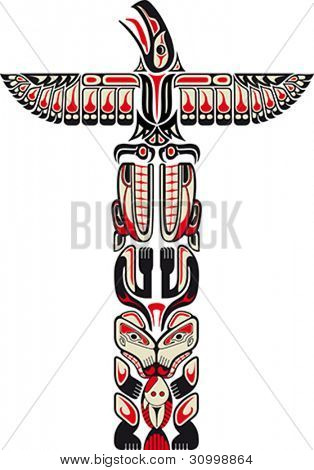 Haida style totem pattern created with animal images. Vector illustration fit for tattoo.