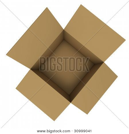 Empty cardboard box isolated on white background. Top view.