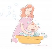 Young Mother Washing Her Laughing Baby In Soapy Water With Bubbles In A Yellow Tub In A Concept Of C poster