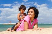Cheerful Asian Mother And Child Together At The Beach