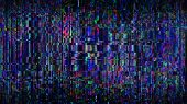 Futuristic Glitch Background. Abstract Pixel Noise Glitch Error Video Damage Like Vhs Glitch. Patter poster