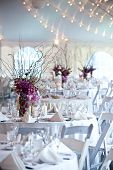 picture of centerpiece  - wedding tables set for fine dining at an event - JPG
