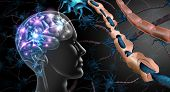 Multiple Sclerosis Nerve Disorder And Damaged Myelin Or Ms Autoimmune Disease With Healthy Nerve Wit poster
