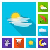 Isolated Object Of Weather And Climate Symbol. Collection Of Weather And Cloud Stock Symbol For Web. poster