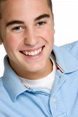 pic of teenage boys  - Closeup portrait of smiling white teenage boy - JPG
