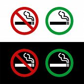No Smoking And Smoking Area Signage Vector Illustration Design. Vector Eps 10. poster