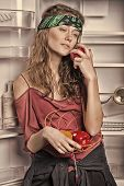 Woman Standing Next To Empty Fridge. Girl In Hippie Head Band Holding Bowl With Vegetables. Skinny M poster