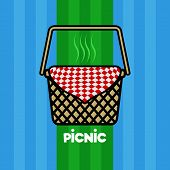 Picnic Poster With A Basket And A Picnic Napkin - Vector poster