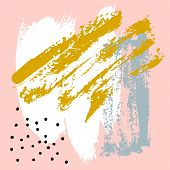 Hand Painted Brush Strokes In Pink, Mustard, Grey, White And Black. Seamless Vector Abstract Pattern poster
