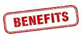 Benefits Stamp. Benefits Square Grunge Sign. Benefits poster