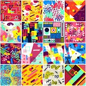 Abstract Seamless Pattern Abstracting Geometric Background Chaotic Texture Of Abstracted Backdrop Il poster