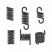 Metal Springs. Metal Spring Icon Set, Metal Spring Collections,  Vector Metallic Spiral And Coil Spr poster