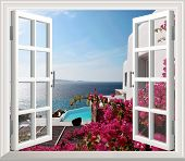 Beautiful View Of Sea From The Window. 3d Wallpaper, Window With Flowers poster