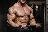 Muscular Bodybuilder Fitness Men Doing Abs Exercises In Gym poster