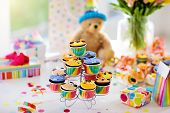 Cupcakes For Kids Birthday, Child Jungle Party. poster
