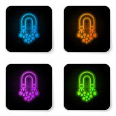 Glowing Neon Magnet With Money Icon Isolated On White Background. Concept Of Attracting Investments, poster