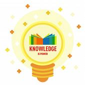 Flat Icon Of Knowledge In Light Bulb Shape. Book Logo In Light Bulb: Knowledge Is Power. Modern Desi poster