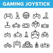 Gaming Joystick Vector Thin Line Icons Set. Gaming Joystick, Computer Games Accessories Linear Picto poster