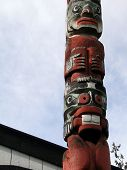 pic of indian totem pole  - Detail Totem pole carved from cedar Thunderbird Park Victoria BC Canada - JPG