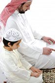 picture of muslim kids  - Muslim father and son praying together - JPG