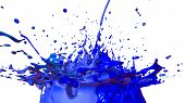 Paint Flew Out Of The Jar On White Background. Simulation Of 3d Splashes Of Ink On A Musical Speaker poster