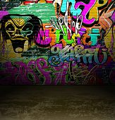 Street art urban background, graffiti wall