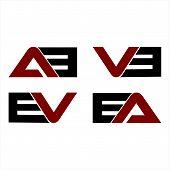 Creative Letter Ab,vb,ev,ea Logo Design Black And Red Logo Elements. Simple Letter Ab,vb,ev,ea Lette poster
