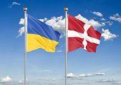 Ukraine Vs Denmark. Thick Colored Silky Flags Of Ukraine And Denmark. 3d Illustration On Sky Backgro poster