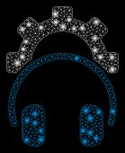 Glossy Mesh Headphones Configuration Gear With Glitter Effect. Abstract Illuminated Model Of Headpho poster