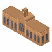 Brown Railway Building Icon. Isometric Of Brown Railway Building Vector Icon For Web Design Isolated poster