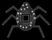 Glossy Mesh Hardware Bug With Lightspot Effect. Abstract Illuminated Model Of Hardware Bug Icon. Shi poster