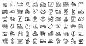 Farmer Icons Set. Outline Set Of Farmer Vector Icons For Web Design Isolated On White Background poster