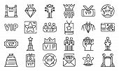 Vip Icons Set. Outline Set Of Vip Vector Icons For Web Design Isolated On White Background poster