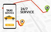 Taxi Service App Design. Mobile Phone Order Taxi In City Map Location Illustration poster