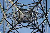 High Voltage Tower From Below With Symmetric View Frame poster
