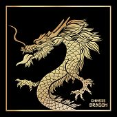 Asian Golden Dragon Vector Postcard Template. Traditional Chinese Festival Creature On Black Backgro poster