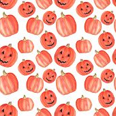 Watercolor Pumpkin Halloween Seamless Pattern On White. Halloween Symbol. Halloween Party Decoration poster