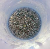 Little Planet 360 Degree Sphere Birds Eye View. Panoramic View Of Wongwian Yai Roundabout. Aerial Vi poster