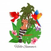 Hello Summer, Jungle Design Banner Vector Illustration. Tropical Palm Tree Leaves With Flowers. Exot poster