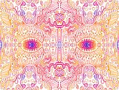 Psychedelic Trippy Colorful Abstract Texture, Gradient Bright Pink, Blue, Yellow Color Outline, On W poster