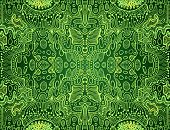 Psychedelic Bright Trippy Colorful Fractal Mandala, Lime, Yellow Gradient Color Outline, On Dark Gre poster