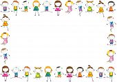 picture of animated cartoon  - Small and smile kids playing and dancing - JPG
