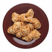 Dumplings On A Brown Plate Isolated On White Background. Dumplings In Tomato Sauce. Dumplings Top Vi poster