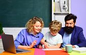 Children Education And Pupil Education. Back To School. Home Schooling. Cute Pupil And His Father An poster
